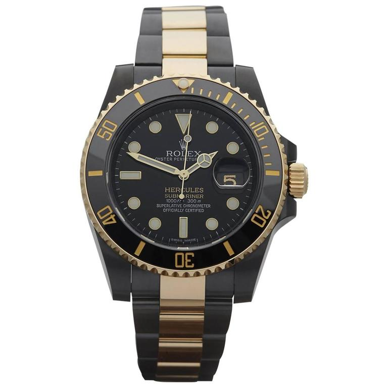 Rolex Custom Gold Steel DLC Coated Submariner Hercules Automatic Wristwatch For Sale