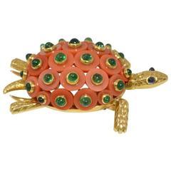 1950s Cartier Paris Coral Emerald Gold Turtle Brooch