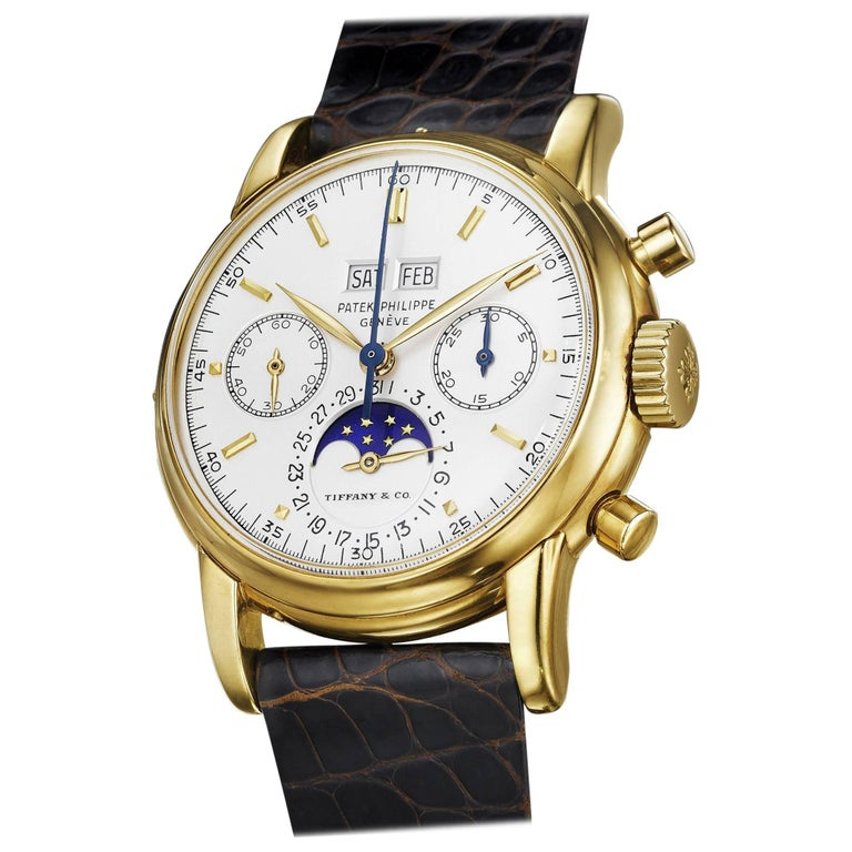 1968 Patek Philippe Retailed by Tiffany & Co. Yellow Gold Wristwatch Ref 2499 For Sale