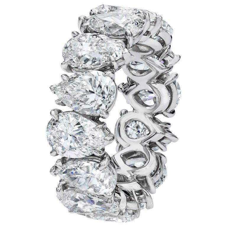 Roman Malakov 10.17 Carat Pear-Shape Diamond Platinum Eternity Wedding Band For Sale