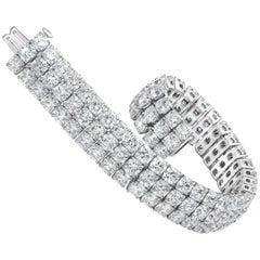 Roman Malakov 44.30 Carat Cushion Cut Diamond Three Row Tennis Bracelet