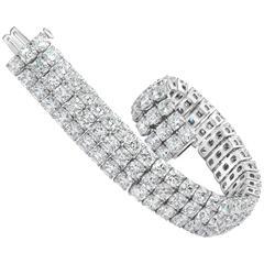 Gorgeous 44.30 Carat Cushion Cut Diamond Three Row Tennis Bracelet