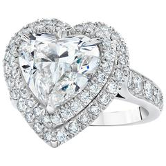 GIA Certified Heart-Shaped 5.01 carat Diamond Gold Engagement Ring