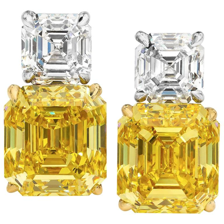 GIA Certified Fancy Vivid Yellow Diamond Earrings For Sale