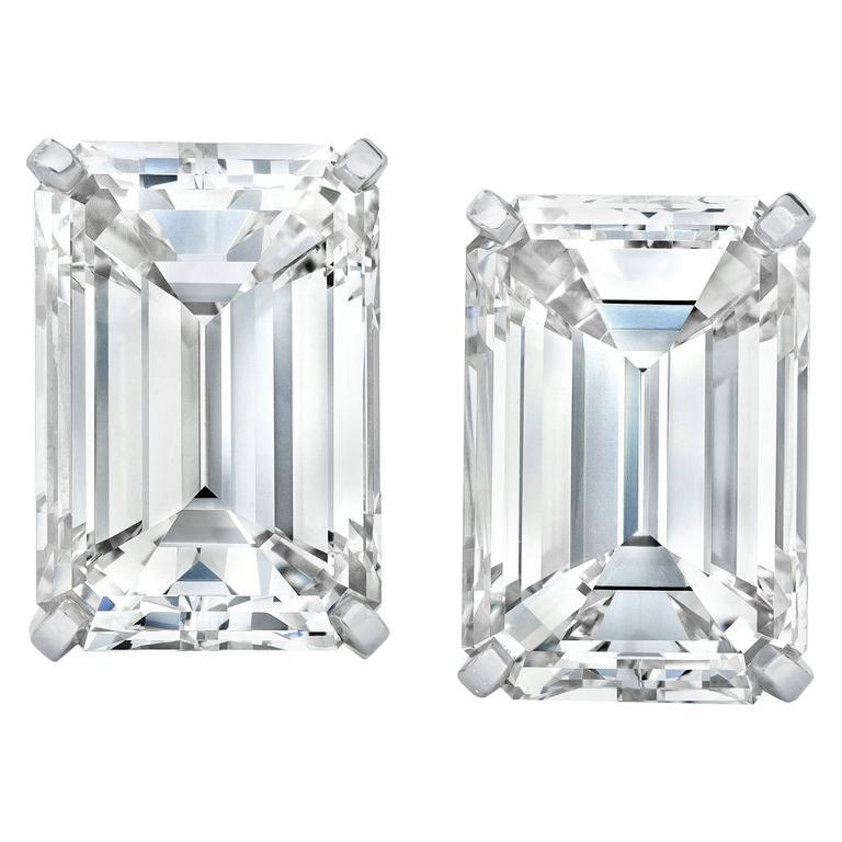 14.23 Carat Emerald Cut Diamond Platinum Stud Earrings For Sale