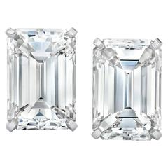 14.23 Carat Emerald Cut Diamond Platinum Stud Earrings