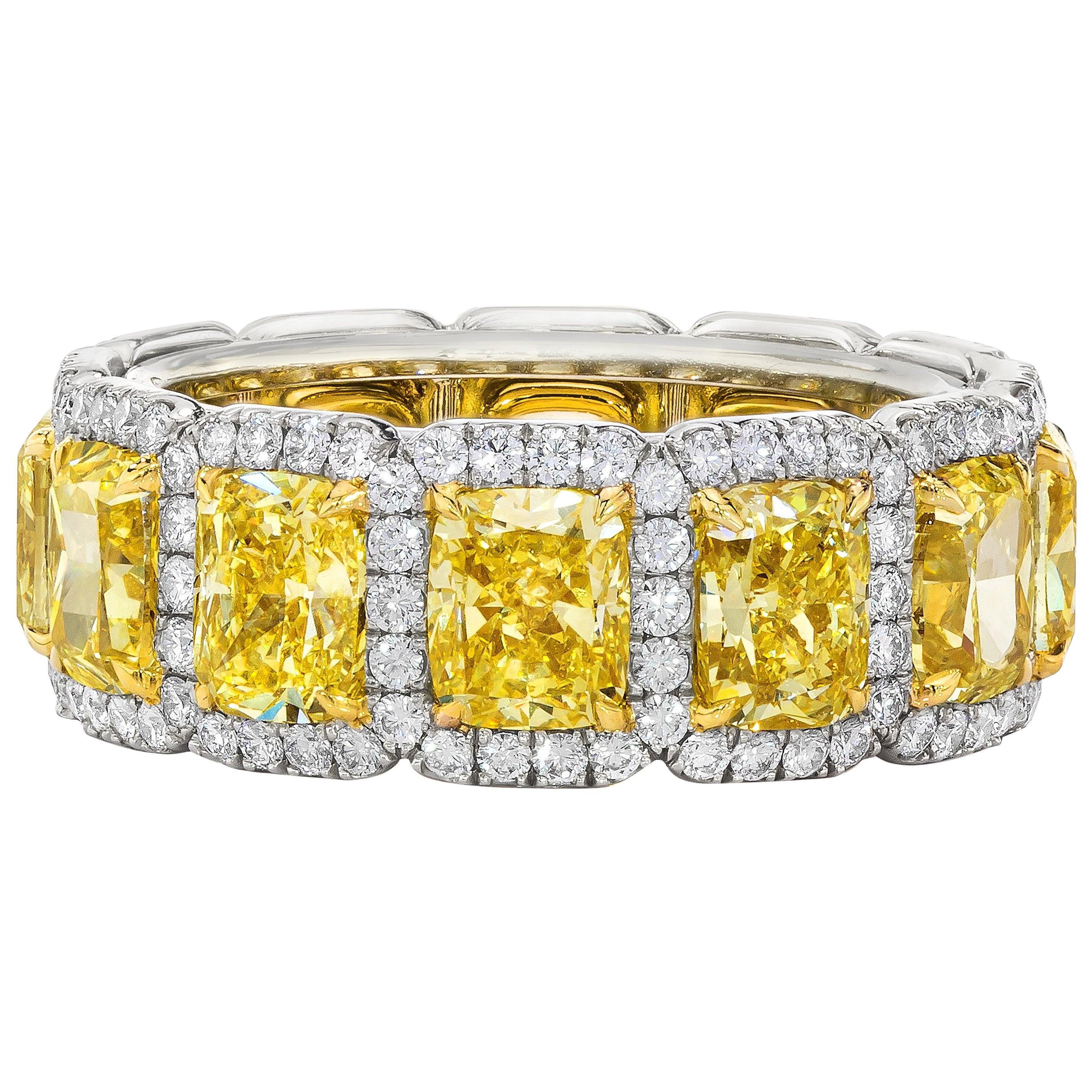 Roman Malakov 7.05 Carat Intense Yellow Diamond Eternity Wedding Band