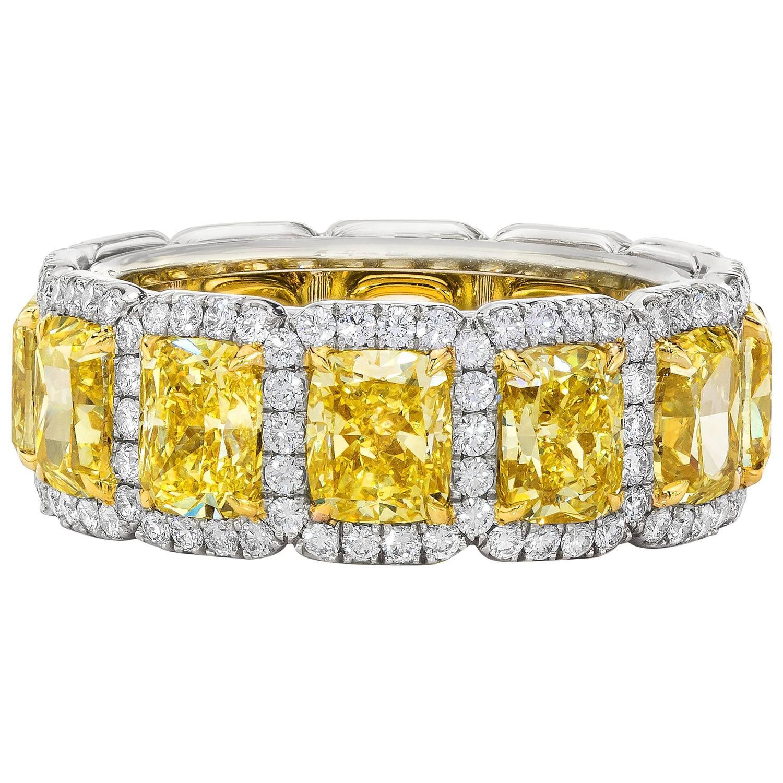 7.05 Carat Fancy Intense Yellow Diamond Eternity Wedding Band For ...