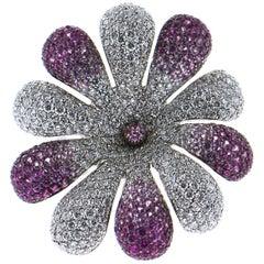 Palmiero Diamond and Pink Sapphires 18 Karat White Gold Flower Ring