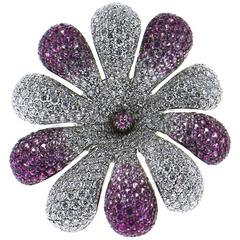 Palmiero Diamond and Pink Sapphires 18 Karat White Gold Flower Ring
