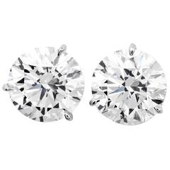 Classic 3.33 Carats  Total Weight Diamond Stud Earrings