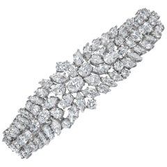 46.50 Carat Fancy Cut Diamond Platinum Bracelet