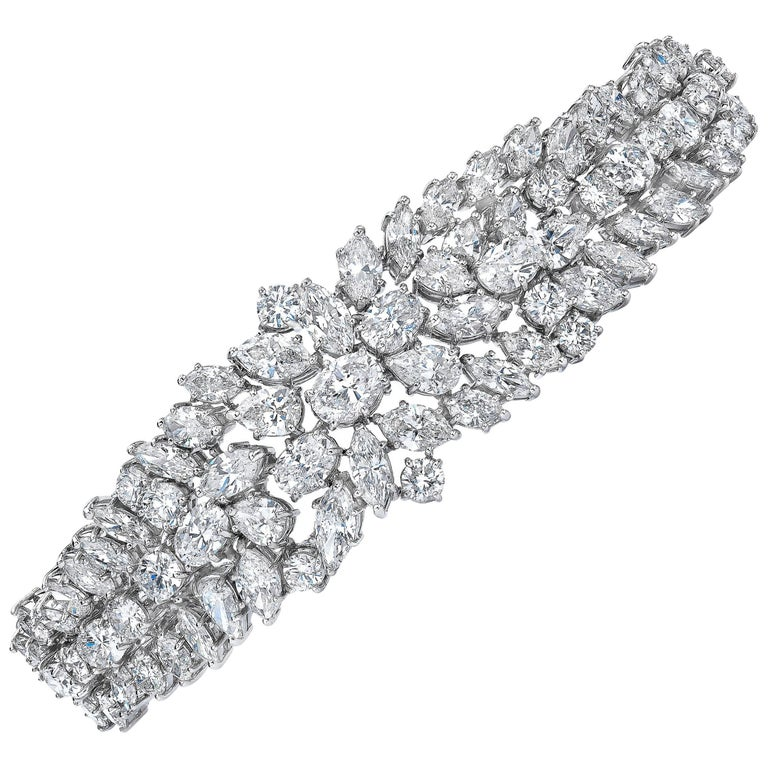 46.50 Carat Fancy Cut Diamond Platinum Bracelet