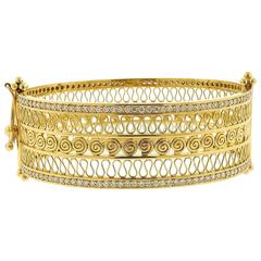 Temple St. Clair Gold Diamond Bangle Bracelet