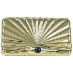 Classic Ribbed Gold Sapphire Pushpiece Pill Box