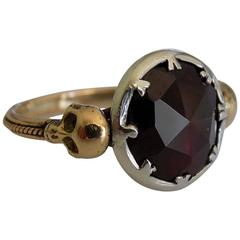 Georgian style Gold Silver Garnet Memento Mori Skull ring