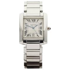 Cartier White Gold Tank Francaise Automatic Wristwatch Ref 2366 2010s