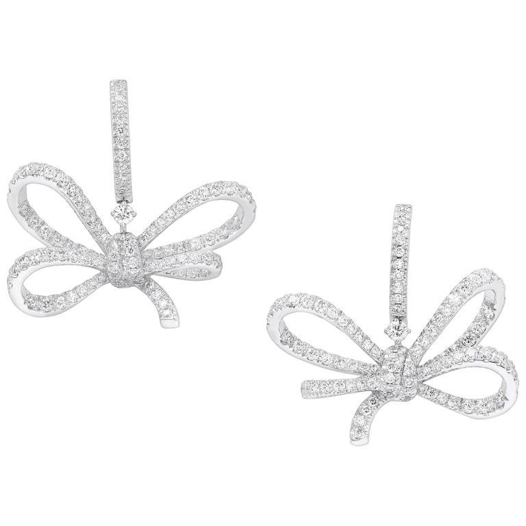 VANLELES Diamond Gold Lyla s Bow Earrings For Sale at 1stdibs