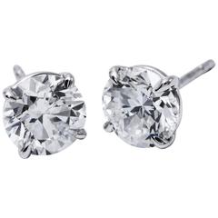 Classic Diamond Studs Earrings 3.00 Carat Gia F/I1