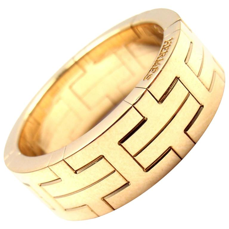 db4d8695464b2 Hermes H Motif Wide Yellow Gold Band Ring
