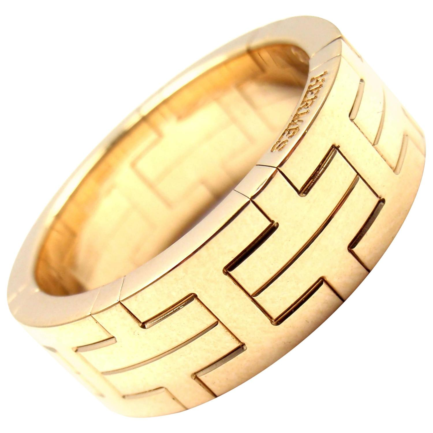 Yafa signed jewels new york ny 1stdibs page 4 - Hermes H Motif Wide Yellow Gold Band Ring