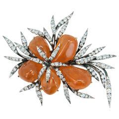 Laura Munder Mandarin Garnet Diamond Gold Brooch