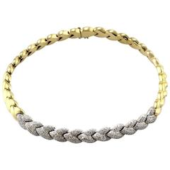 Pave Diamond Braided Gold Necklace