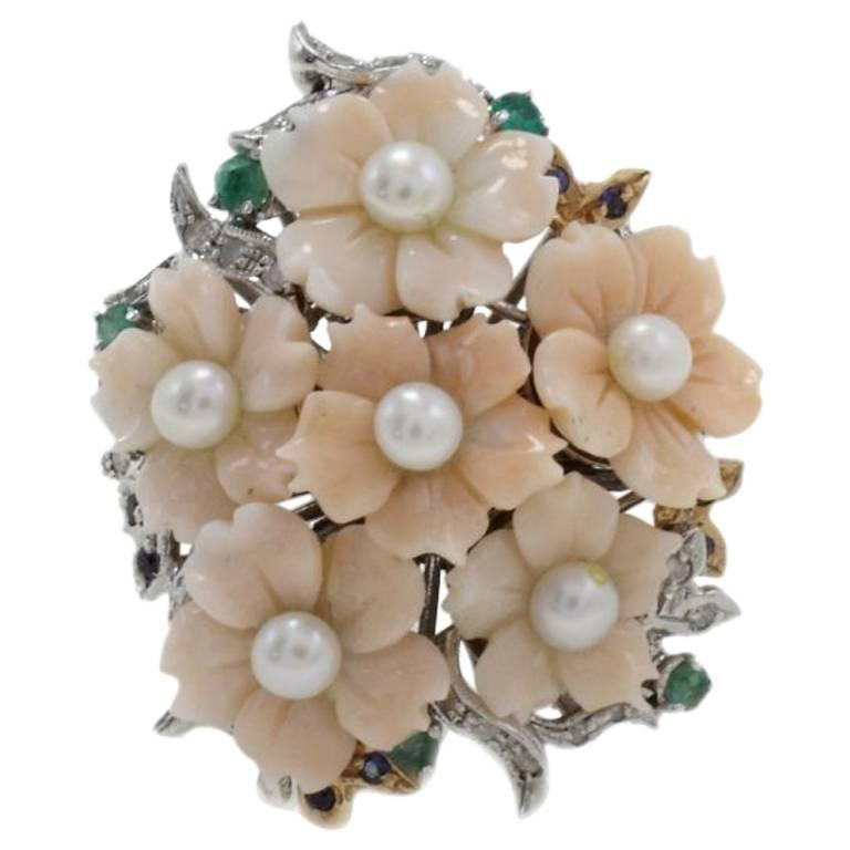 Diamonds Coral Emeralds Blue Sapphires Pearls Cluster Gold  Ring