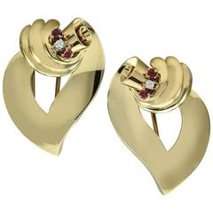 Tiffany & Co. Ruby Diamond Gold Dress Clips