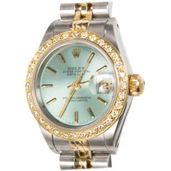 Rolex Ladies Gold Steel Diamond Bezel Dial Datejust Wristwatch, Ref 69173