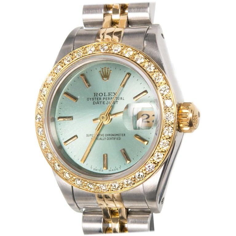 2281b7c09cc2 Rolex Ladies Gold Steel Diamond Bezel Dial Datejust Wristwatch