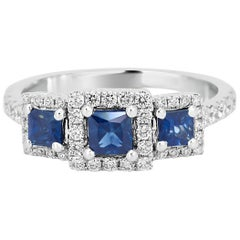 Blue Sapphire Diamond Halo Three Stone Gold Ring