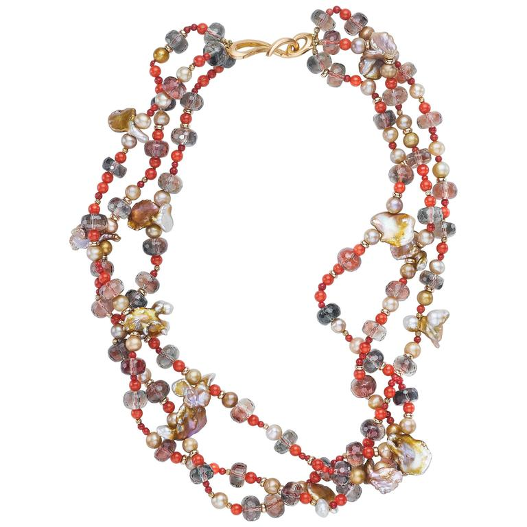 Naomi Sarna Pearl Sunstone Coral Gold Necklace