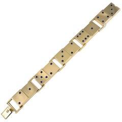 Geometric Sapphire Gold Domino Bracelet