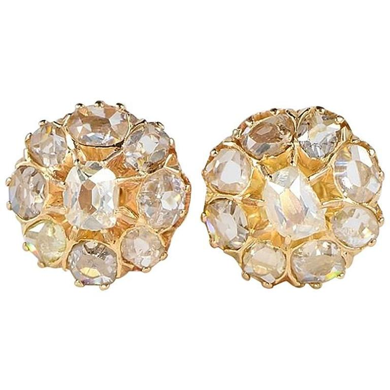 Victorian 2 20 Carat Old Table Cut Diamond Gold Stud Cer Earrings For