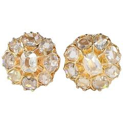 Victorian 2.20 Carat Old Table Cut Diamond Gold Stud Cluster Earrings