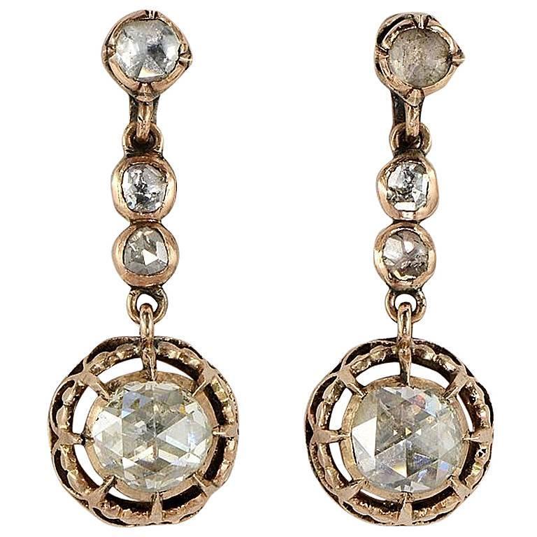 Georgian 3.90 Carat Dutch Rose Cut Diamond Gold Drop Earrings