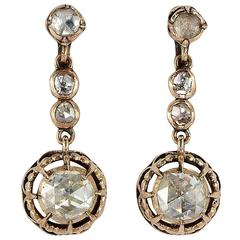 Georgian 3.90 Carat Dutch Rose Cut Diamond Gold Drop Earrings