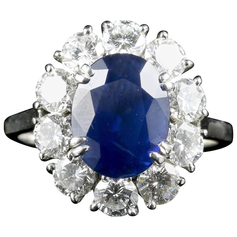 Antique Edwardian 3.00 Carat Natural Sapphire Diamond French Engagement Ring For Sale