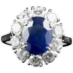 Antique Edwardian 3.00 Carat Natural Sapphire Diamond French Engagement Ring