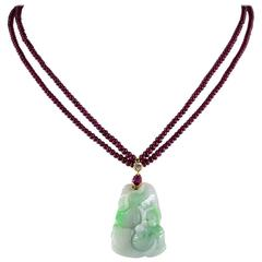 Natural Ruby Diamond Carved Apple Jade Necklace