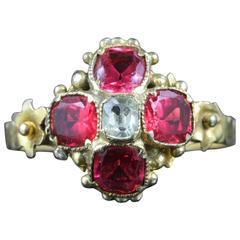 Antique Georgian Pink Paste Gemstone Aquamarine Gold Ring