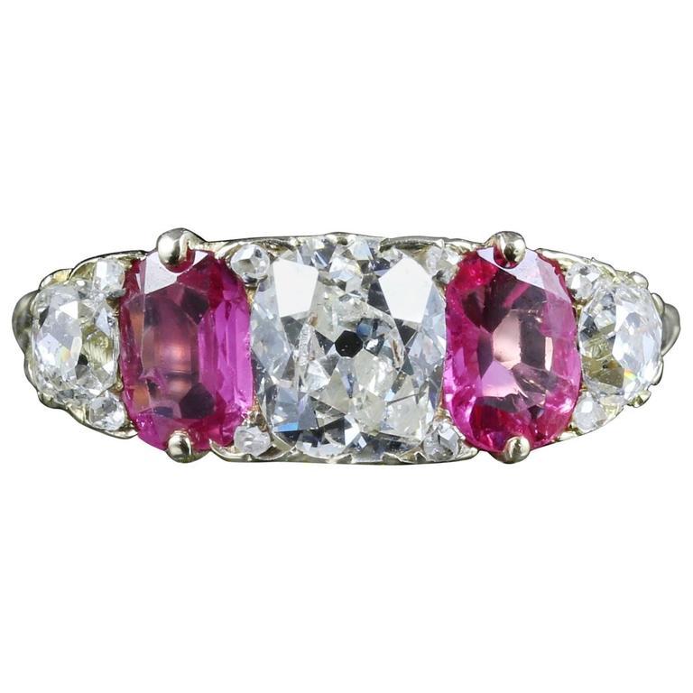 Antique Victorian Diamond Ruby Gold Ring Circa 1880