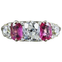 Antique Victorian Diamond Ruby Gold Ring, circa 1880