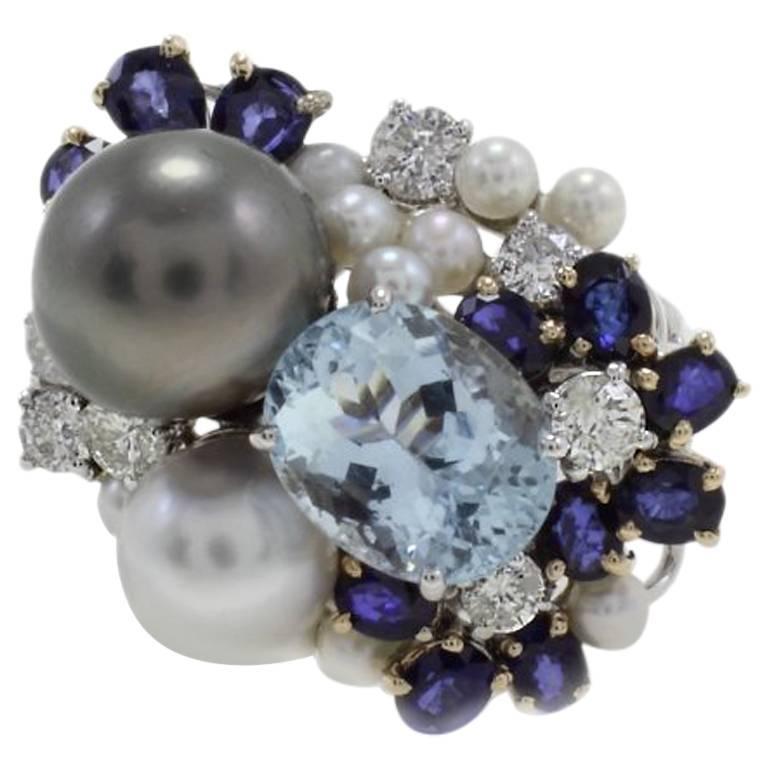 1.26 Diamonds Sapphires and 3.64 Carat Aquamarine Pearls Cluster Gold Ring