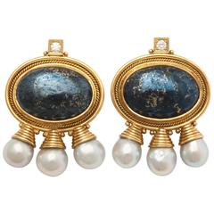 1990s Elizabeth Gage Grey Goldstone Pearls Diamond Gold Earrings