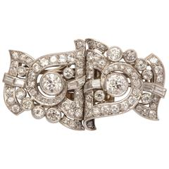 1930s Mixed Cut Round and Baguette Cut Diamond Platinum Clip Brooches