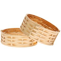 1990's Ralph Lauren Pair Basket Weave Pattern Hinged Gold Bangle Bracelets
