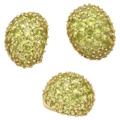 1980's Pave Faceted Cut Peridot Gold Clip On Earrings And Ring Suite