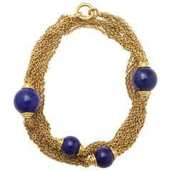 1970's Five Strand Large Lapis Lazuli Long Gold Open Link Chain Necklac